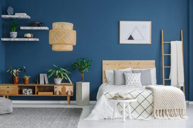 donkerblauwe muur slaapkamer