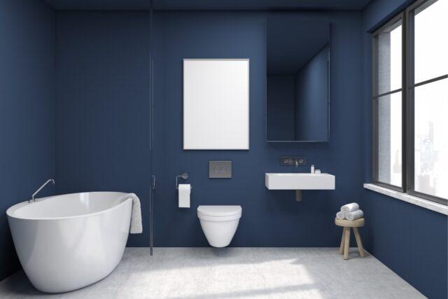 badkamer blauw mat
