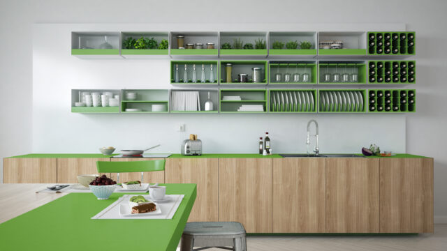 groene keukenkastjes