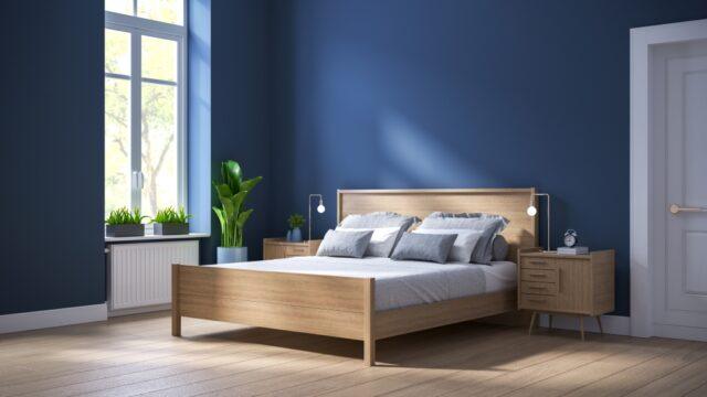 blauwe muur slaapkamer