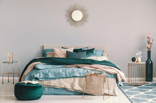 slaapkamer blauw groen